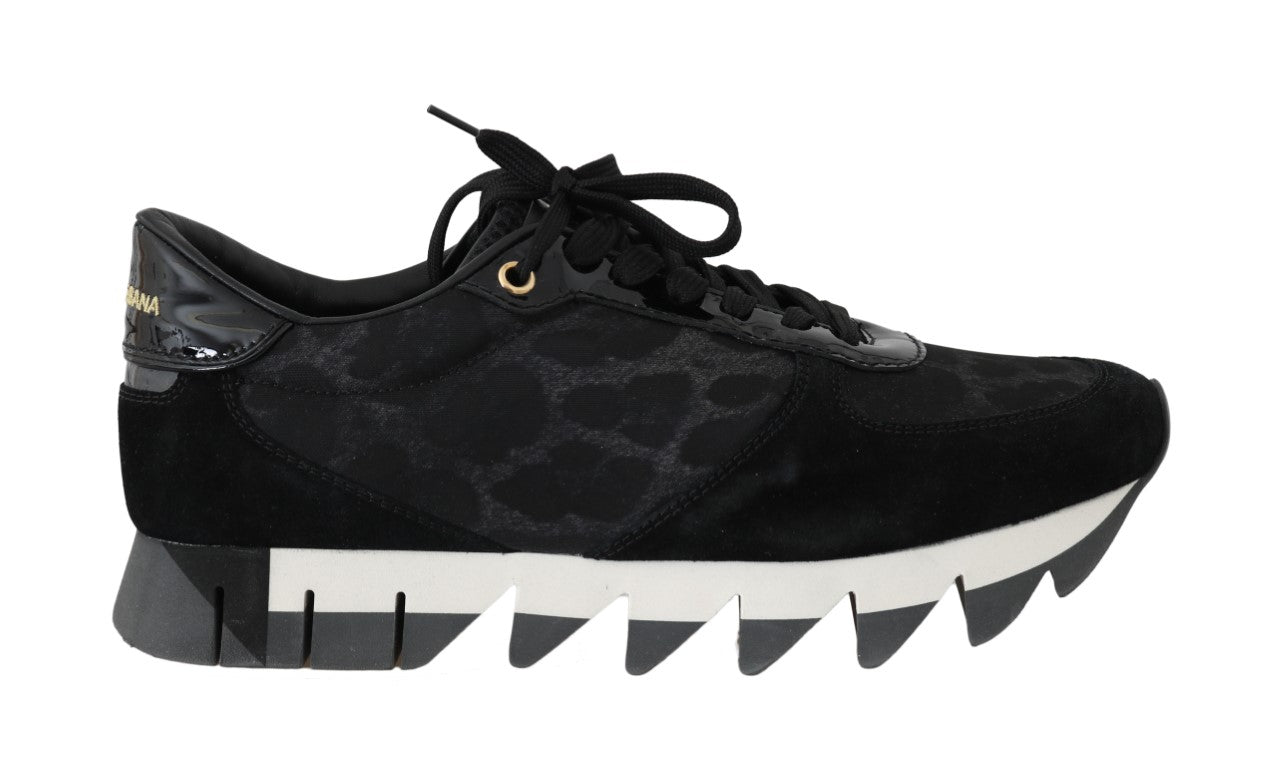 Black Gray Leopard Nylon Leather Sneakers