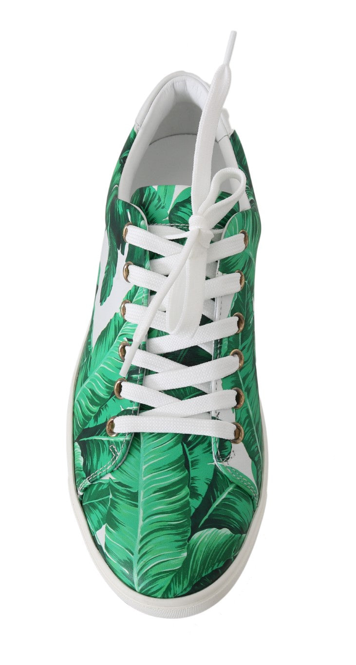 Leather White Green Banana Sneakers