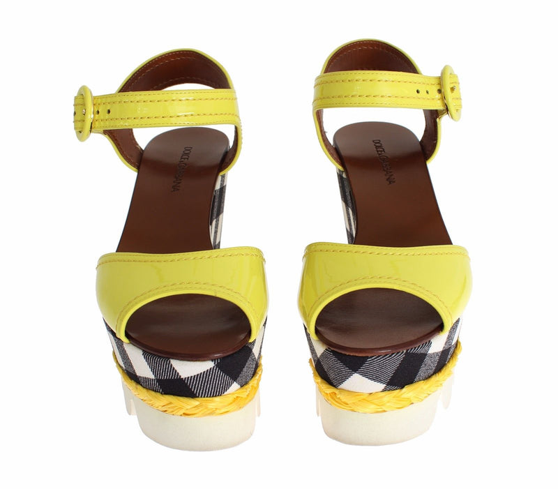 Dolce & Gabbana - Yellow Leather Check Wedges Platform