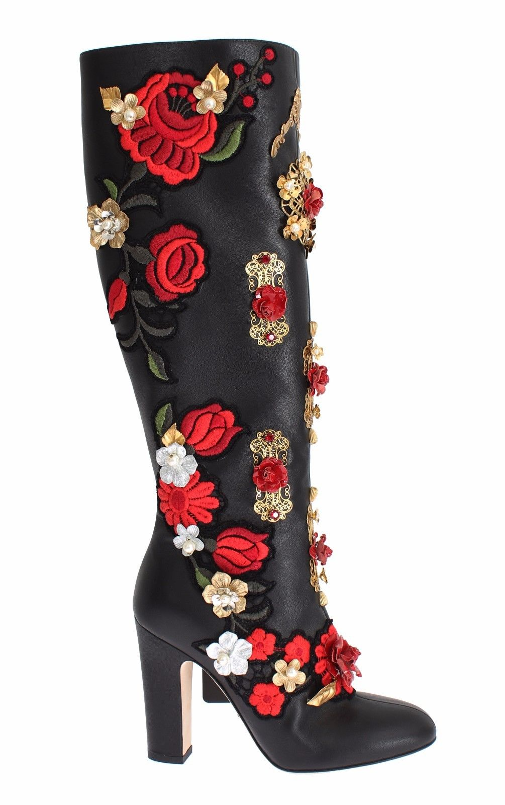 Dolce & Gabbana - Black Red Roses Crystal Gold Heart Leather