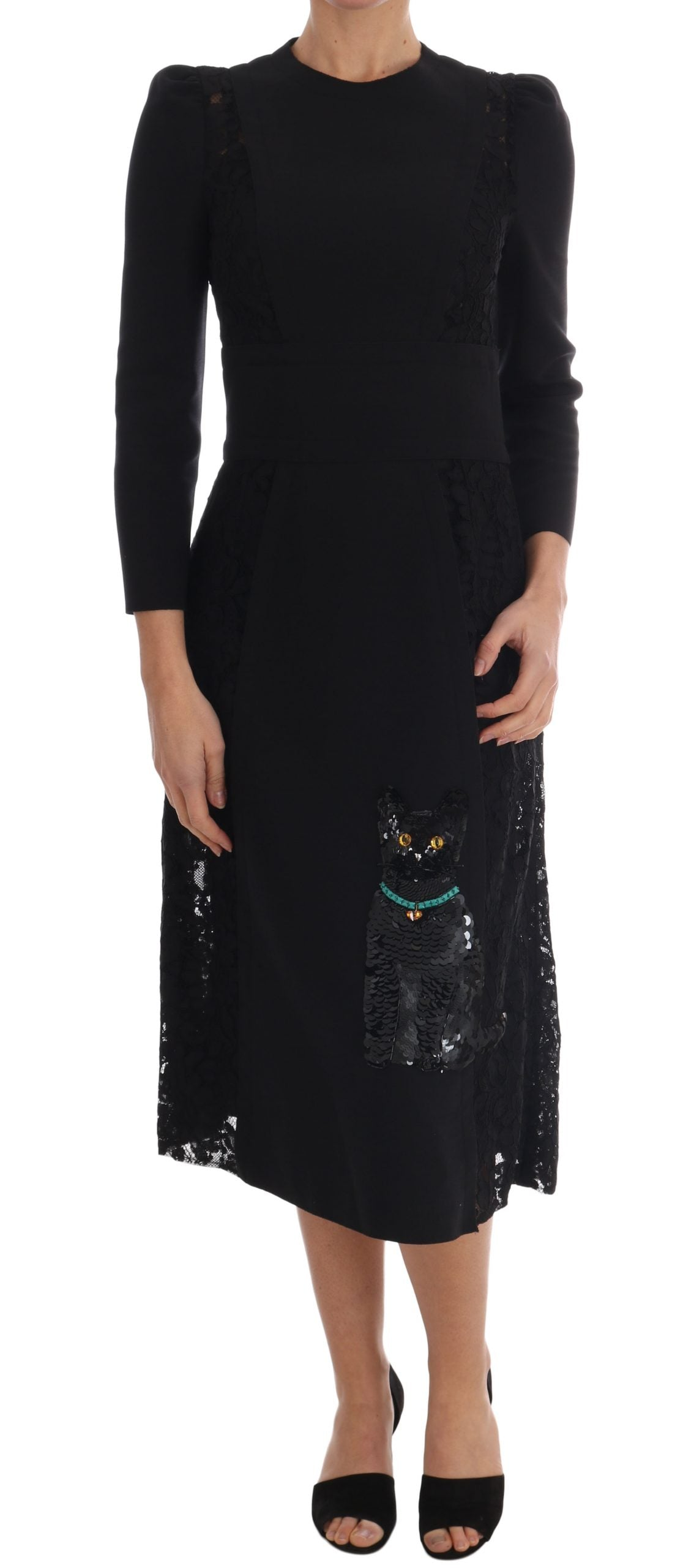 Black Crystal Embriodered Cat Dress