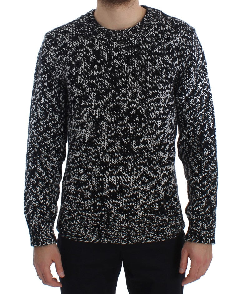 Dolce & Gabbana - Black White Knitted Crewneck Cashmere Sweater