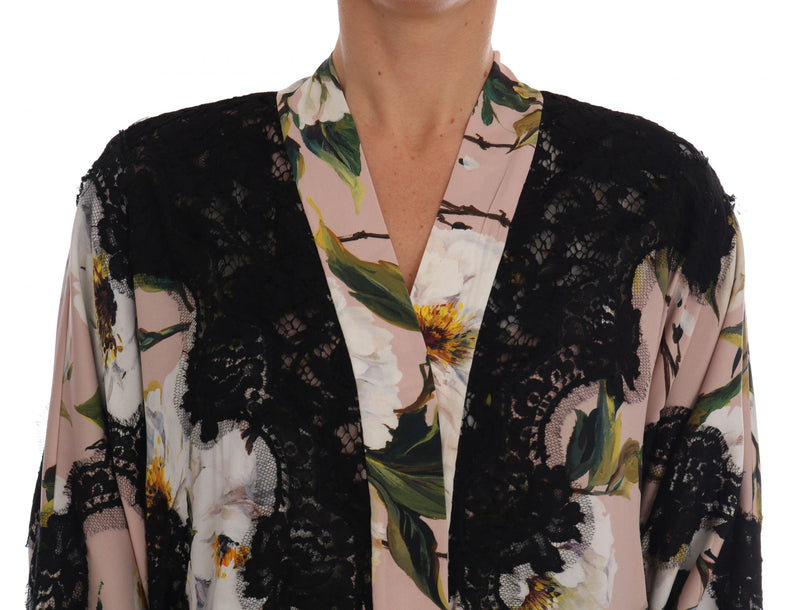 Foral Lace Peonies Kaftan Abaya Dress