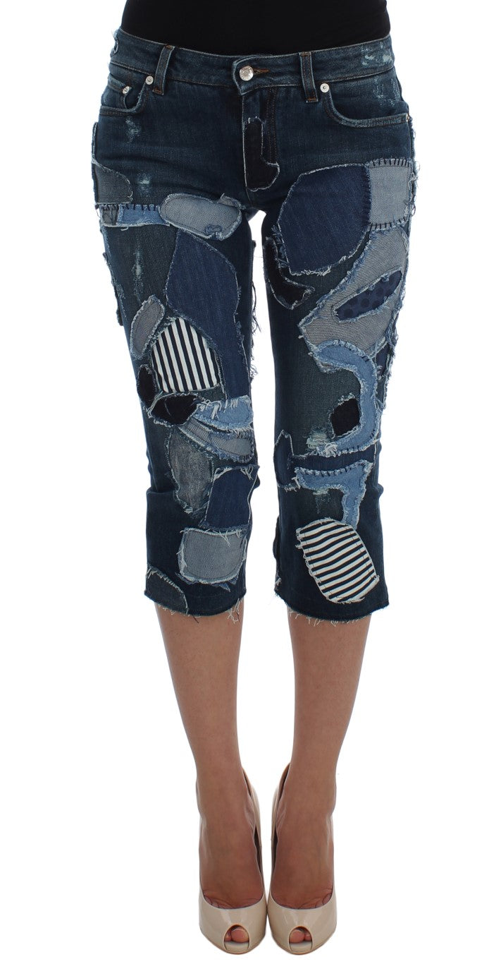 Dolce & Gabbana - Stretch Blue Patchwork Jeans Shorts