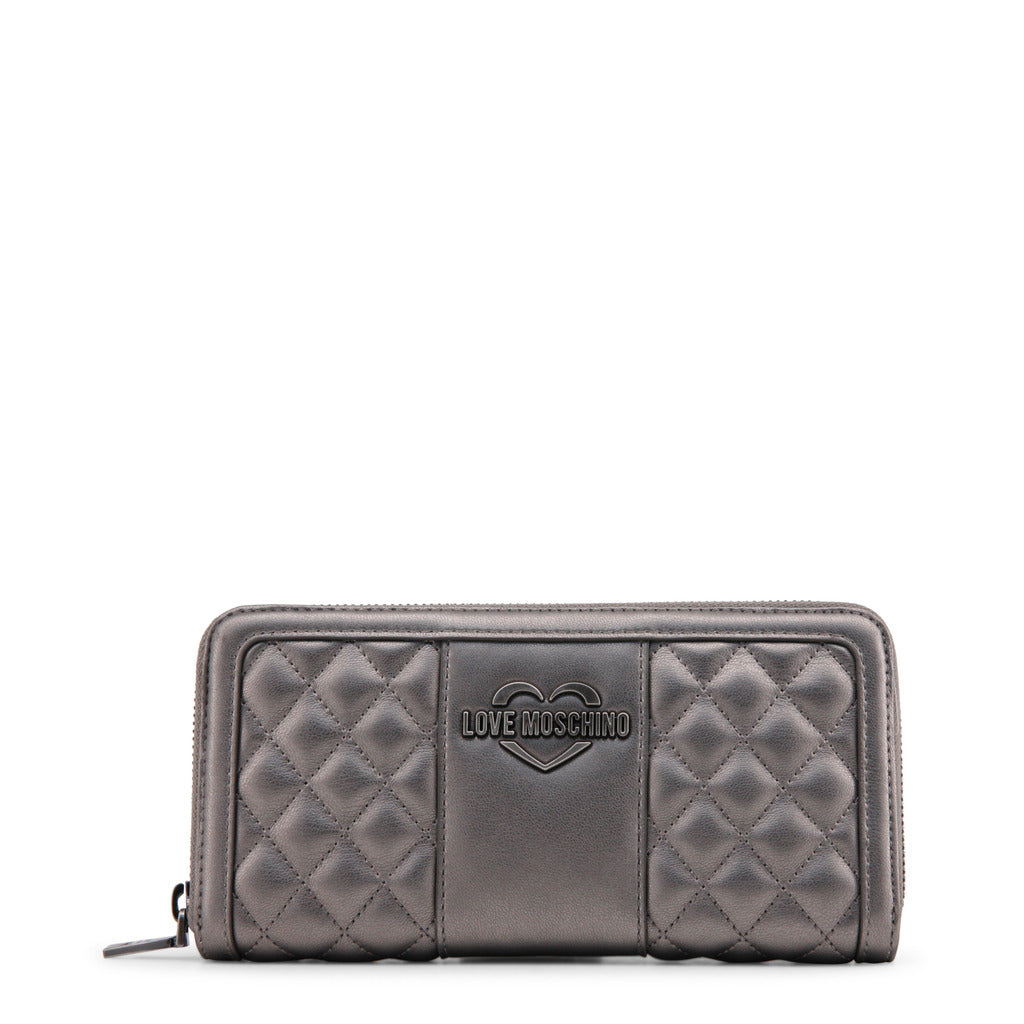 Love Moschino - Wallet - Grey Metallic Quilted with Heart Logo