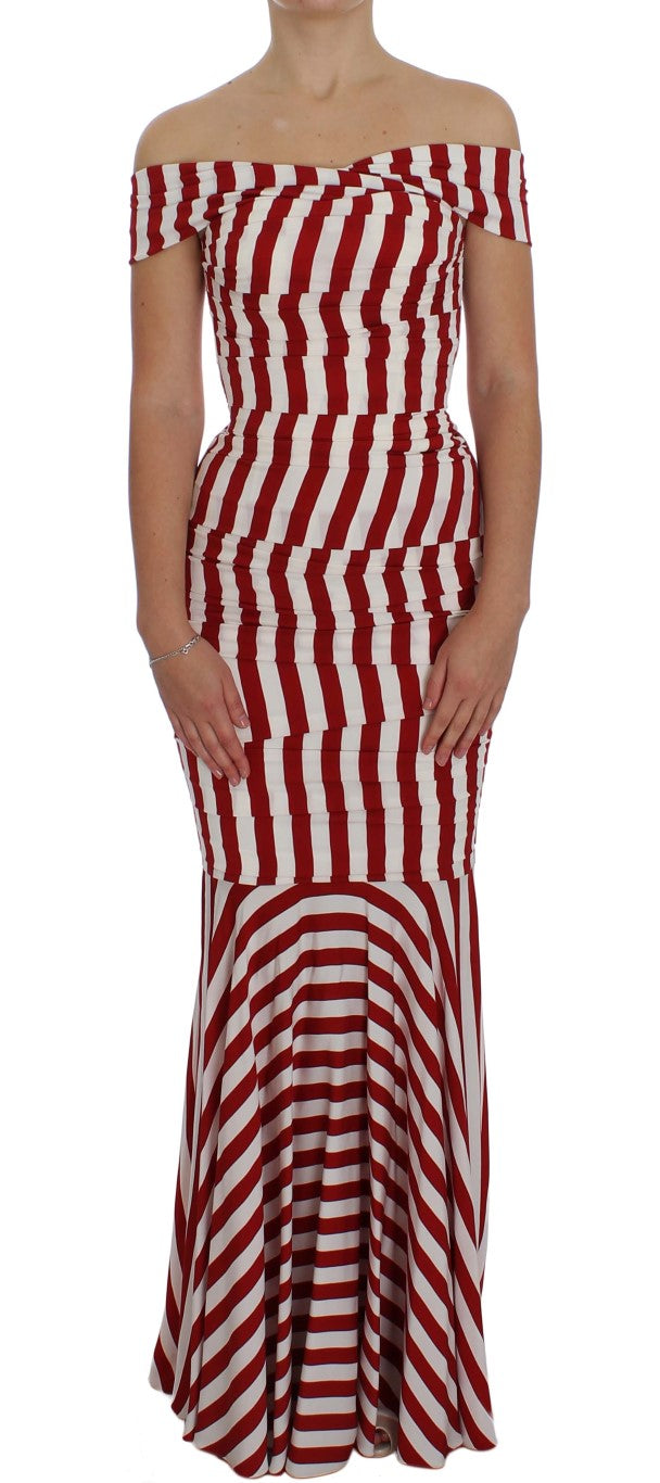 Dolce & Gabbana - Red White Silk Stretch Dress