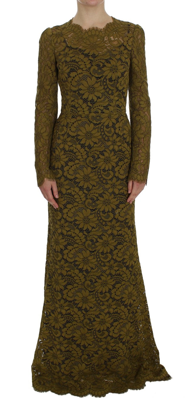 Dolce & Gabbana - Olive Green Floral Lace Ricamo Maxi Dress