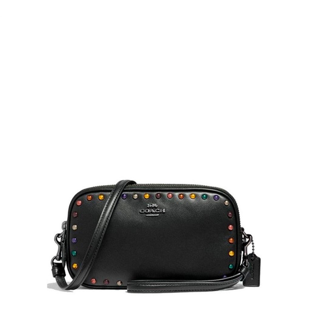 Coach - 32478 - Black Leather wiith Rainbow Rivets Crossbody Clutch