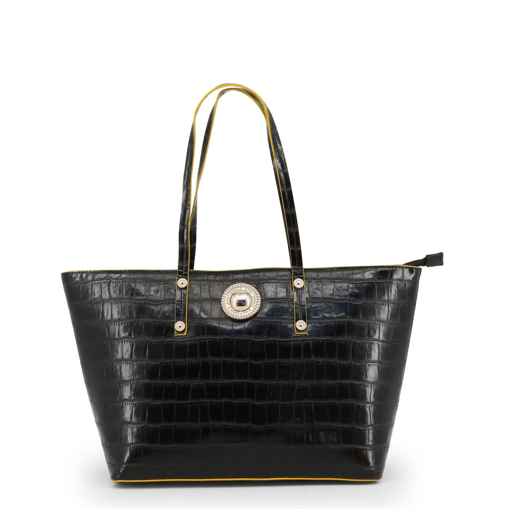 Versace Jeans - Shopping bag - Black Croc Effect with Yellow Trim
