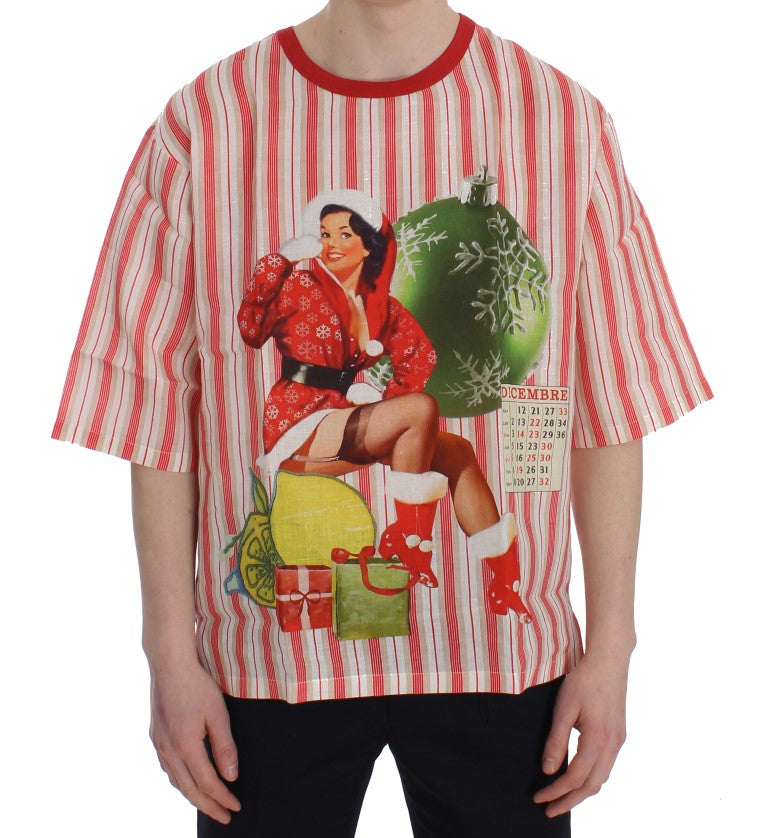 Dolce & Gabbana - Red And White Striped DICEMBRE T-Shirt