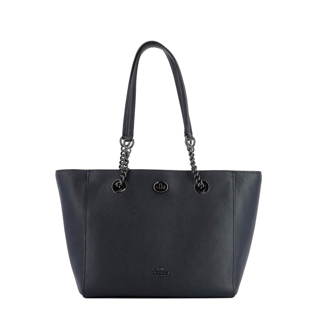 Coach - 57107 - Turnlock Chain Tote 27 in Blue Leather