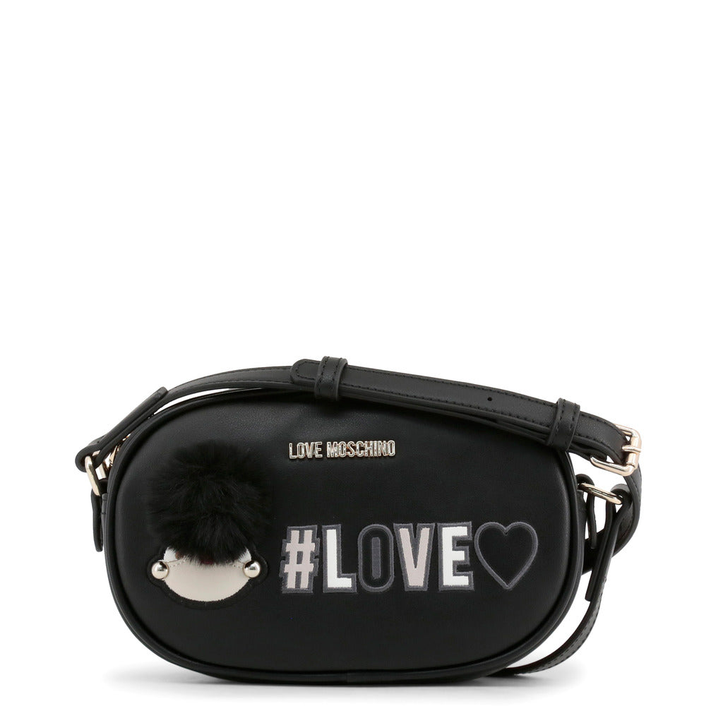 Love Moschino - Crossbody Bag - Black Girly Pom Pom #Love