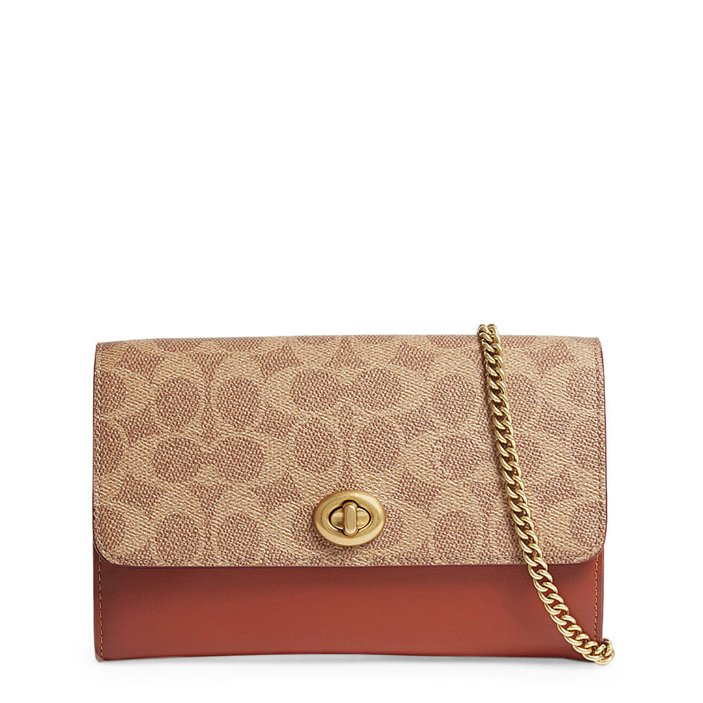 Coach - 67161 - Marlow Turnlock Tan Colorblock Signature Canvas Clutch Bag