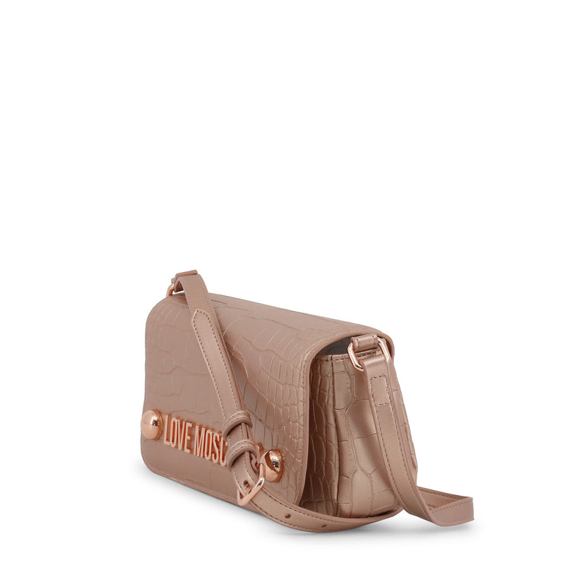 Love Moschino - Crossbody Bag - Pink Rose Gold Crocodile Leather Effect & Studs