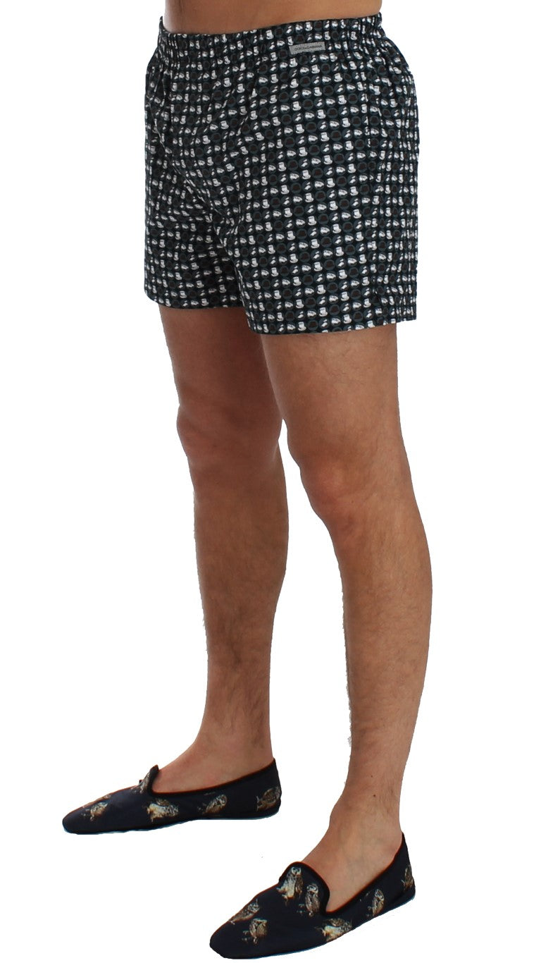 Dolce & Gabbana - Blue Hat Print Cotton Pajama Shorts