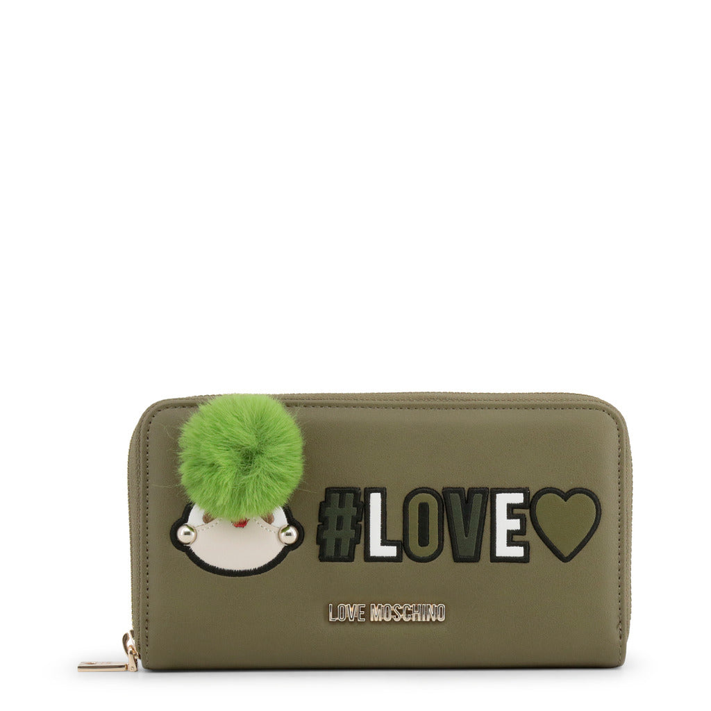 Love Moschino - Wallet - Green with #Love Logo & Girly Pom Pom