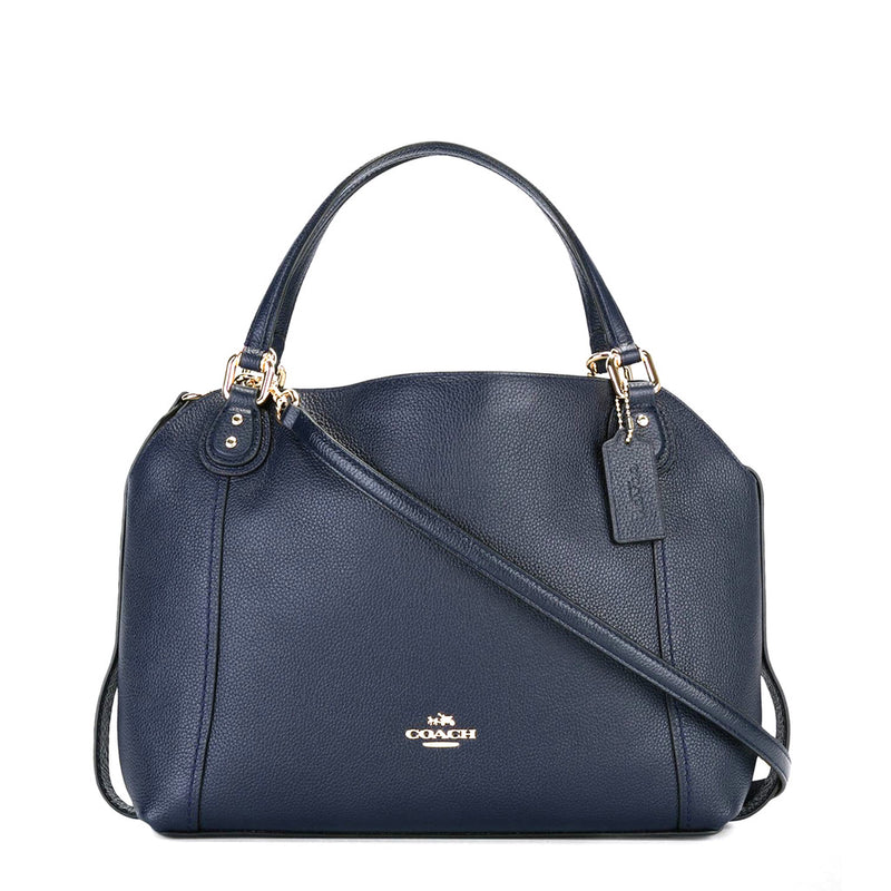 Coach - 57124 -  Edie 28 Polished Pebbled Blue Leather Handbag