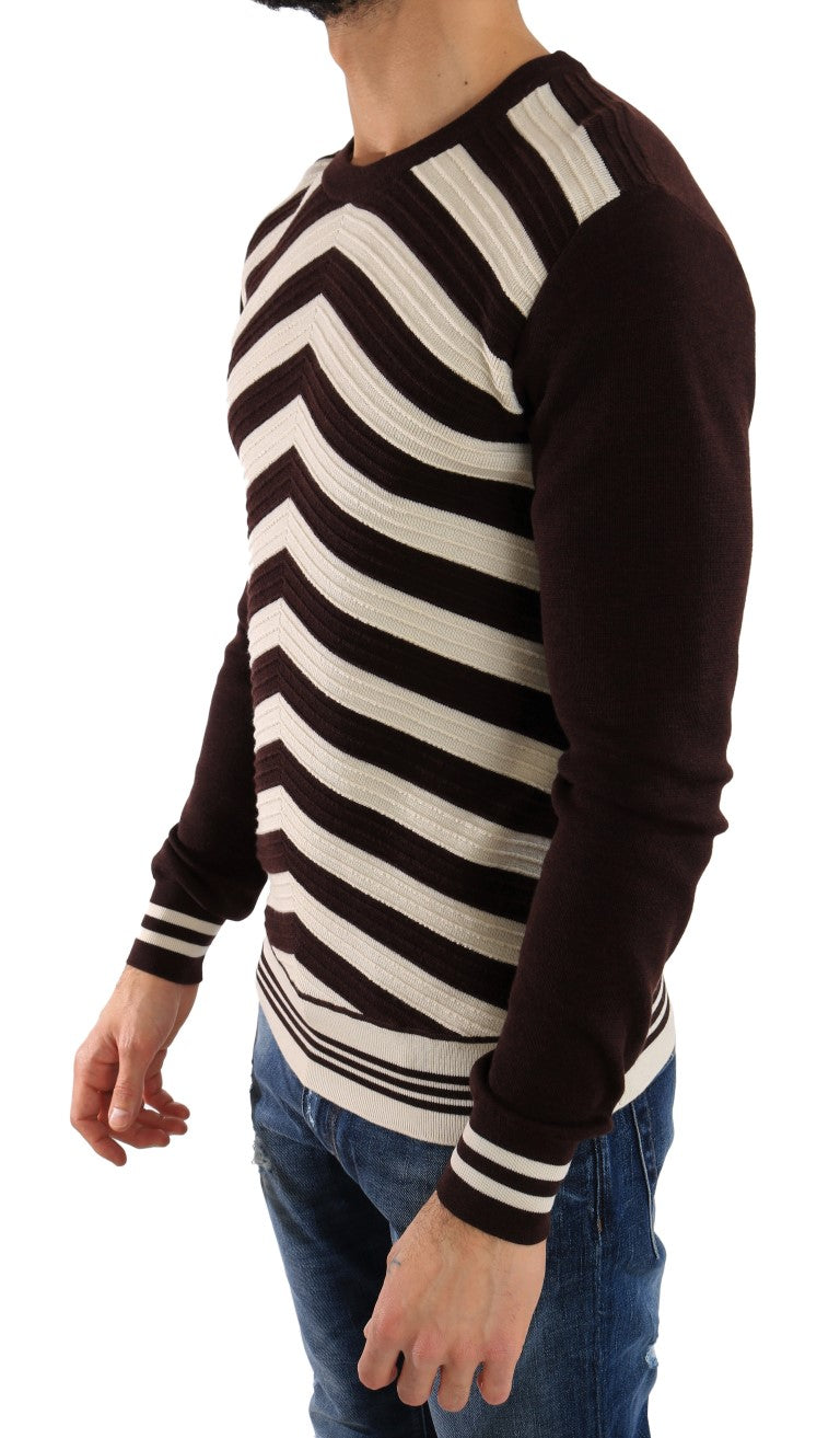 Purple White Striped Pullover Sweater