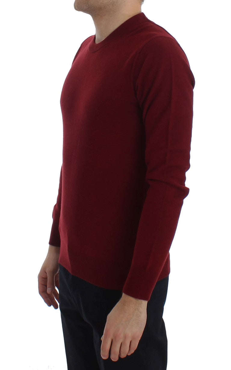 Red Cashmere Crew-neck Pullover Sweater