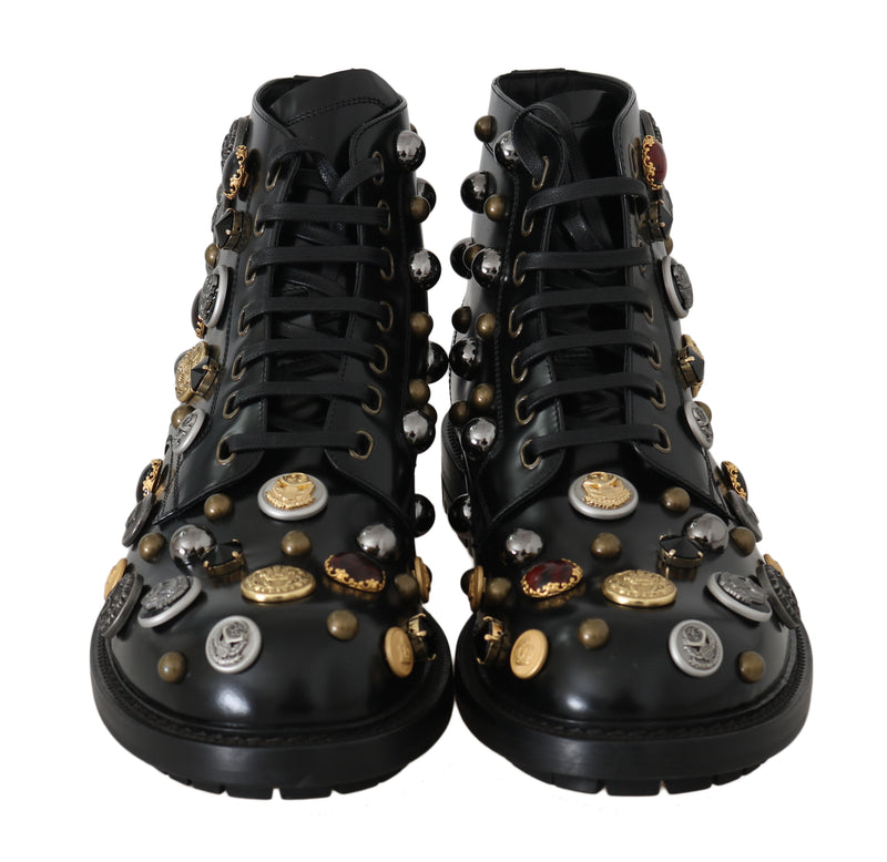 Black Leather Pearl Studs Logo Boots