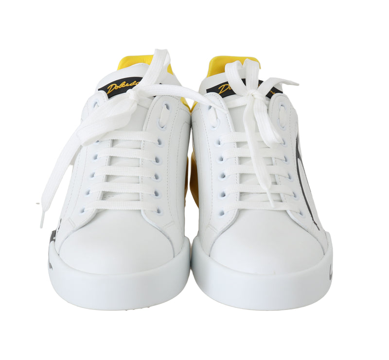 Yellow White Black Logo Leather Women