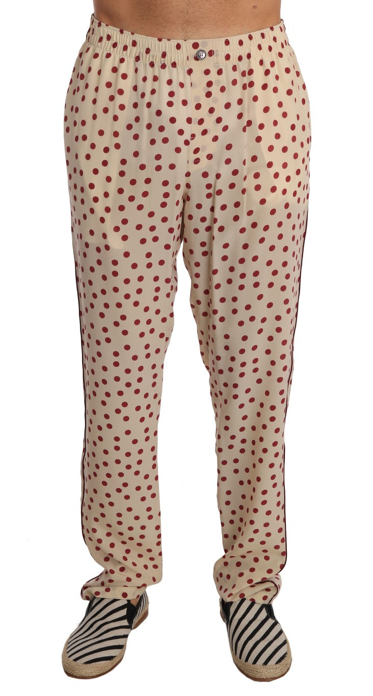 Dolce & Gabbana - Beige Red Polka Dot Silk Pajama Pants