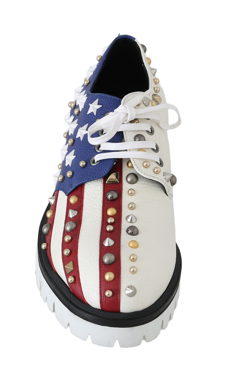 Leather White American Flag Derby Shoes