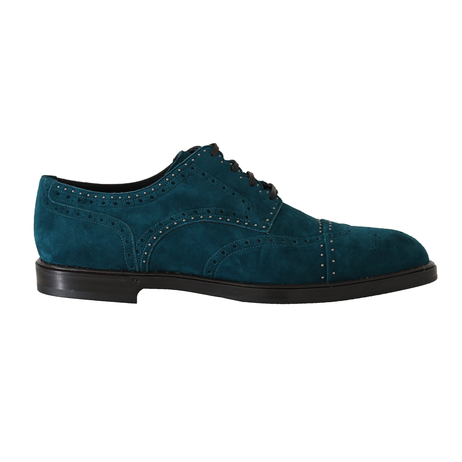 Blue Leather Derby Dress Wingtip Shoes