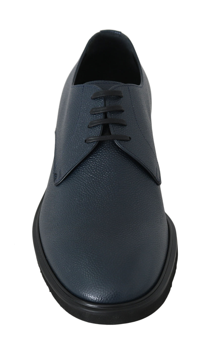 Blue Leather Derby Dress Formal Shoes