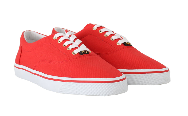 Red Canvas Casual Sneakers Laceup Shoes