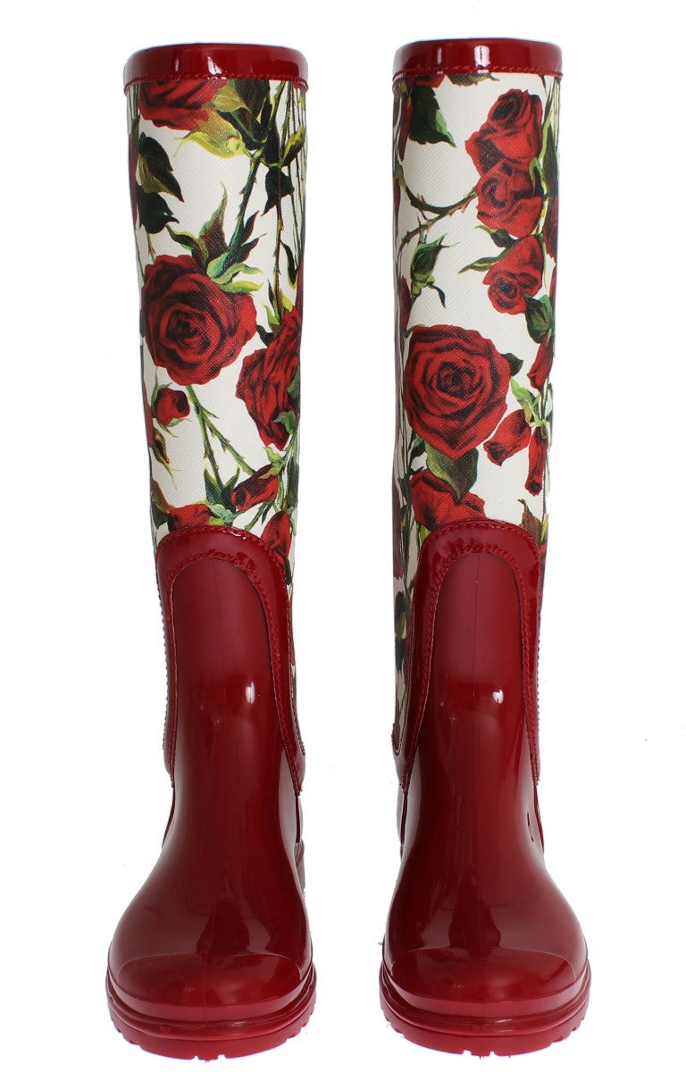 Dolce & Gabbana - Red Roses Rubber Rain Boots