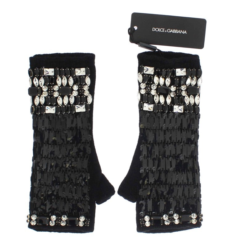Dolce & Gabbana - Black Cashmere Crystal Finger Less Gloves