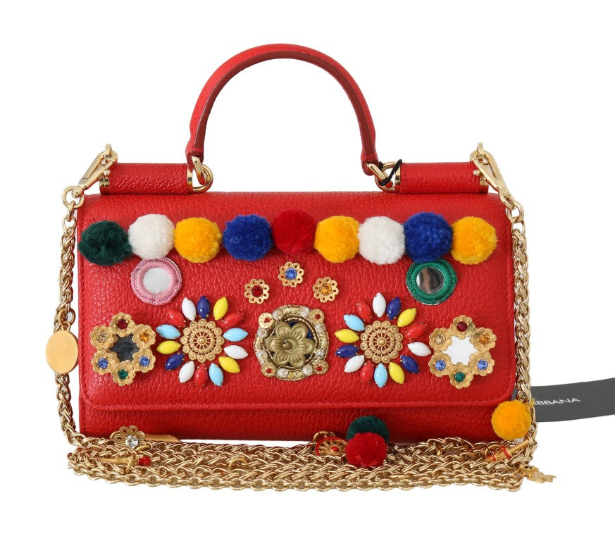 Dolce & Gabbana - Red VON Leather Crystal Carretto POM POM Bag