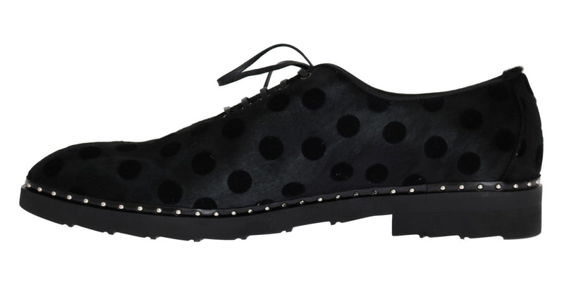 Dolce & Gabbana - Black Polka Dotted Pony Hair Shoes