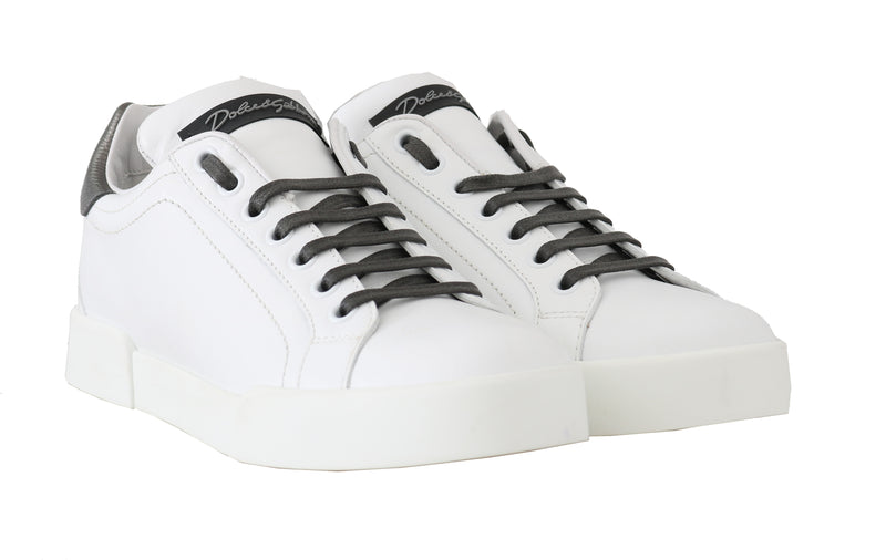 White Leather DG Pearl Logo Sneakers