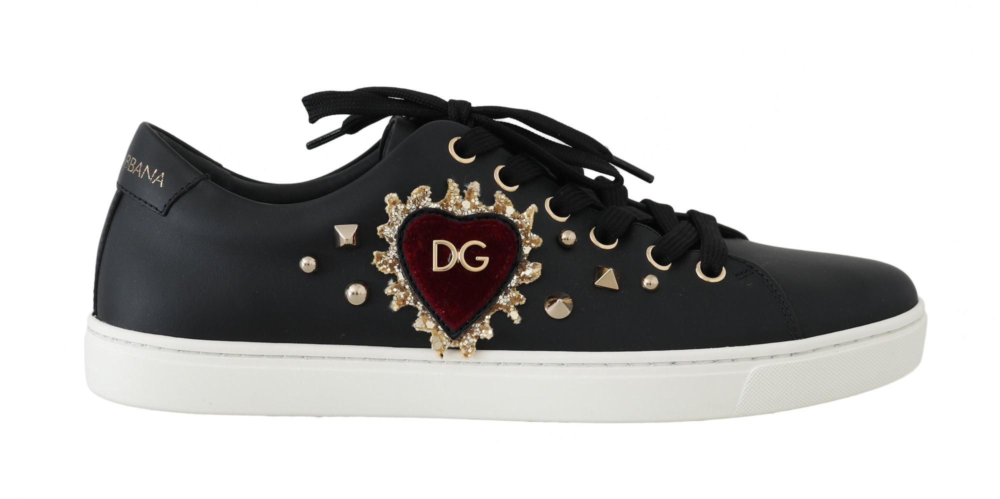 Black Leather Gold Red Heart Sneakers