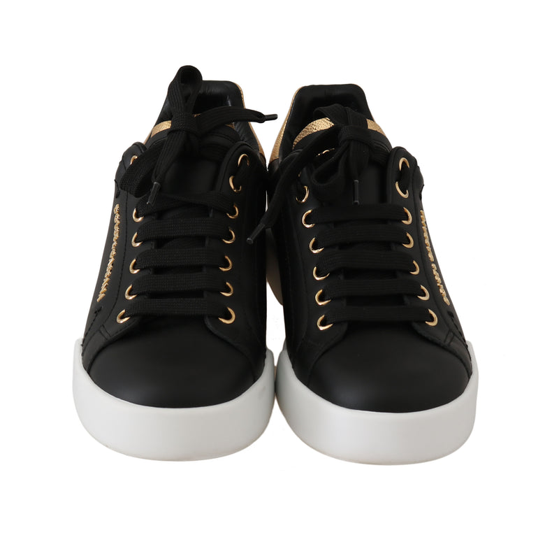 Black Leather Gold Logo Pearl Sneakers
