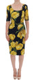 Black Silk Stretch Yellow Tulip Sheath Dress