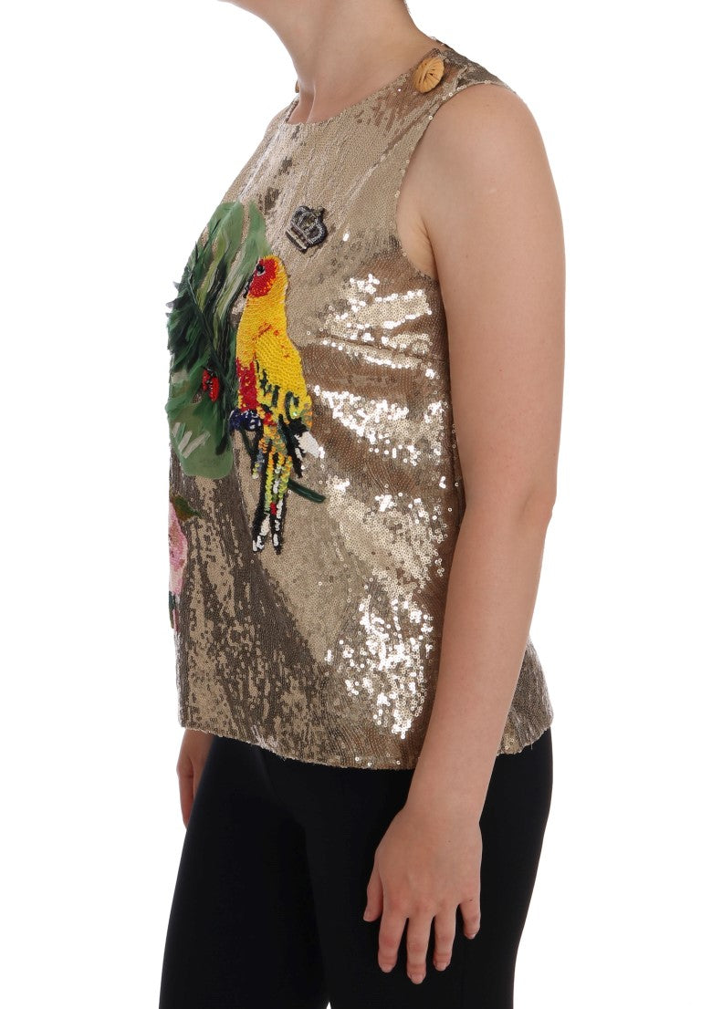 Dolce & Gabbana - Gold Sequined Crystal Parrot Floral T-shirt