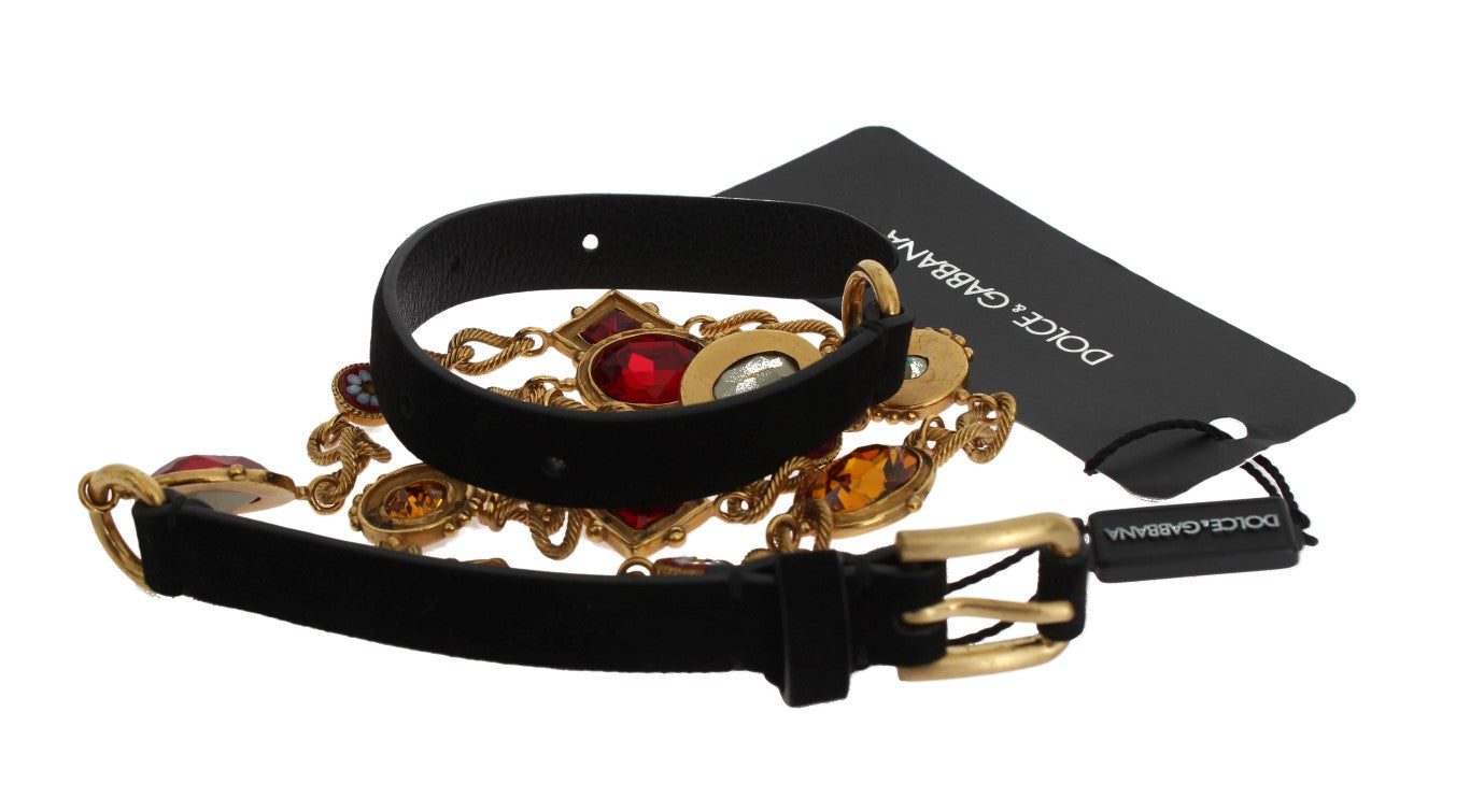 Dolce & Gabbana - Black Leather Crystal Gold Chain Belt