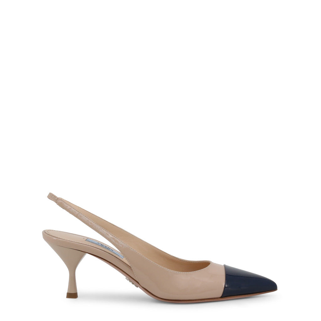 Prada - 1I272L - Tan and Black Court Slingback Heels