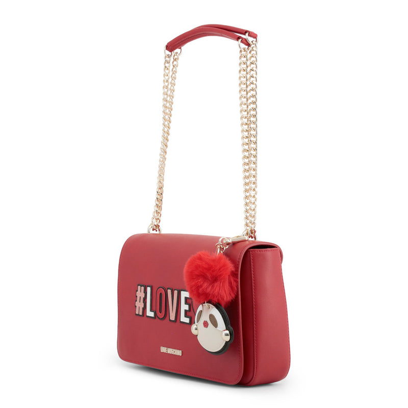 Love Moschino - Shoulder Bag - Red #Love Logo Girly Pom Pom