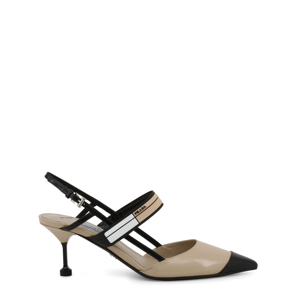 Prada - 1I296I - Tan, Black and White Strappy Slingback Heels