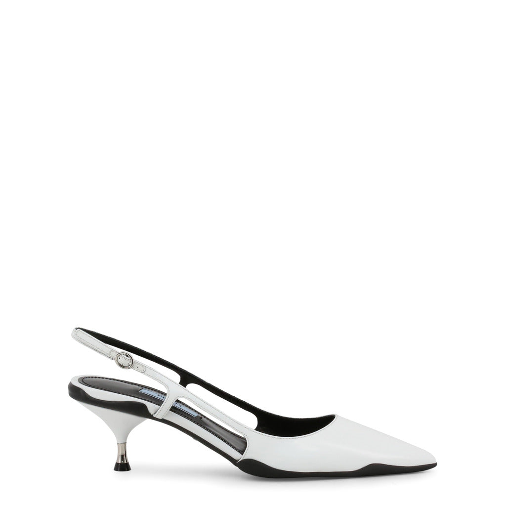 Prada - 1I261L - White with Black Trim Court Slingback Heels