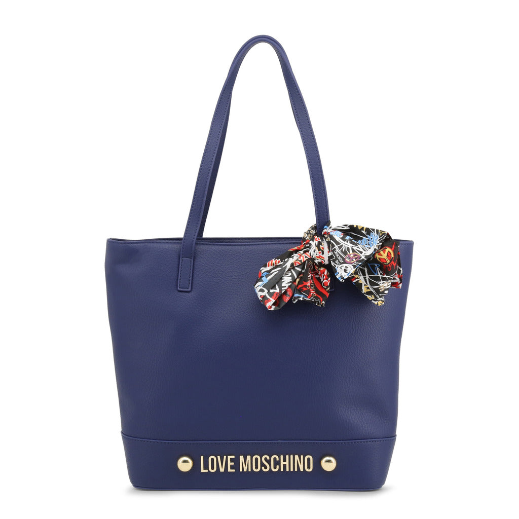 Love Moschino - Shoulder Bag - Blue  with Scarf, Studs & Logo
