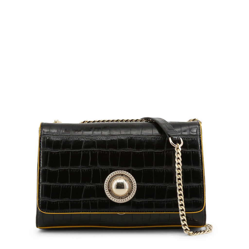 Versace Jeans - Crossbody bag - Black Round Button Croc Effect with Yellow Trim