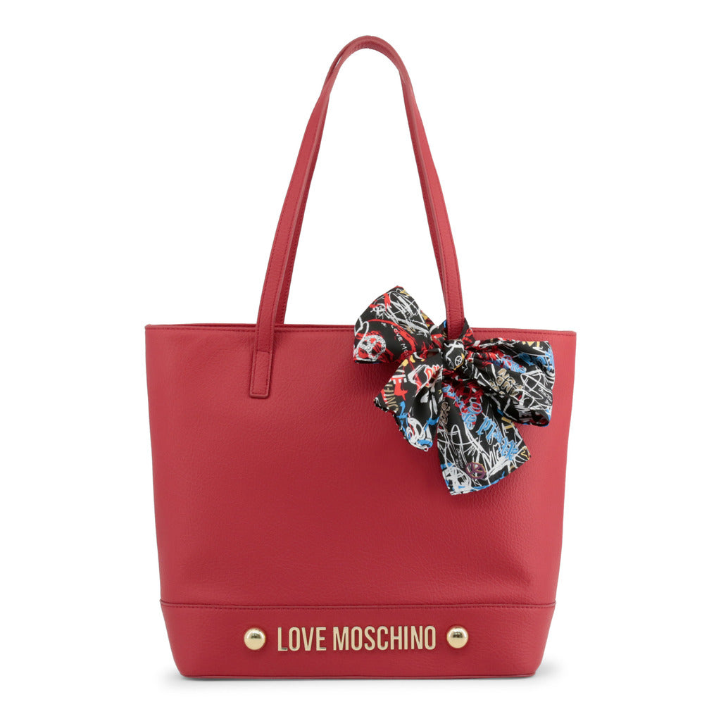 Love Moschino - Shoulder Bag - Red with Scarf, Studs & Logo