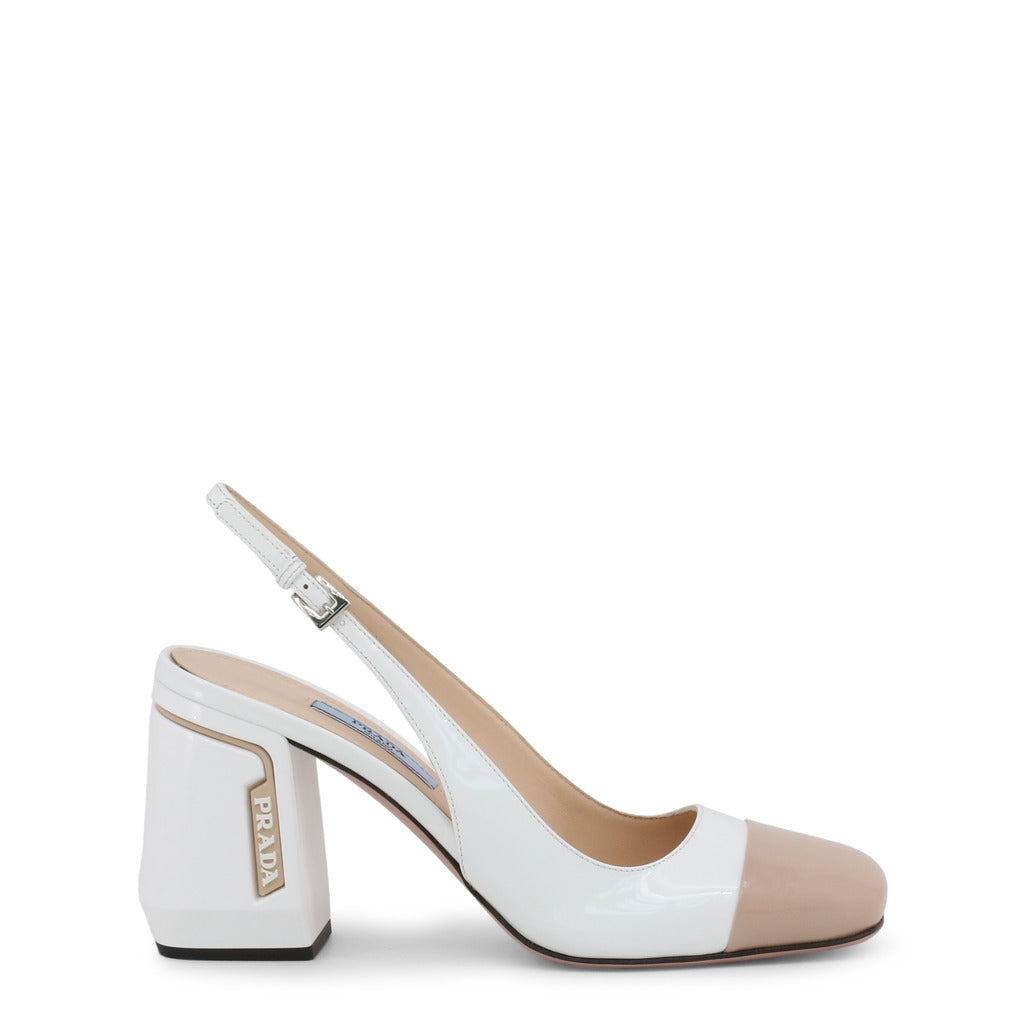 Prada - 1I223L - Tan and White Block Heel Slingback