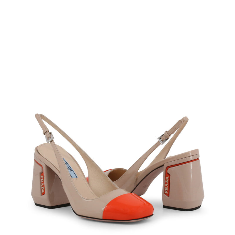 Prada - 1I223L - Tan and Orange Block Heel Slingbacks
