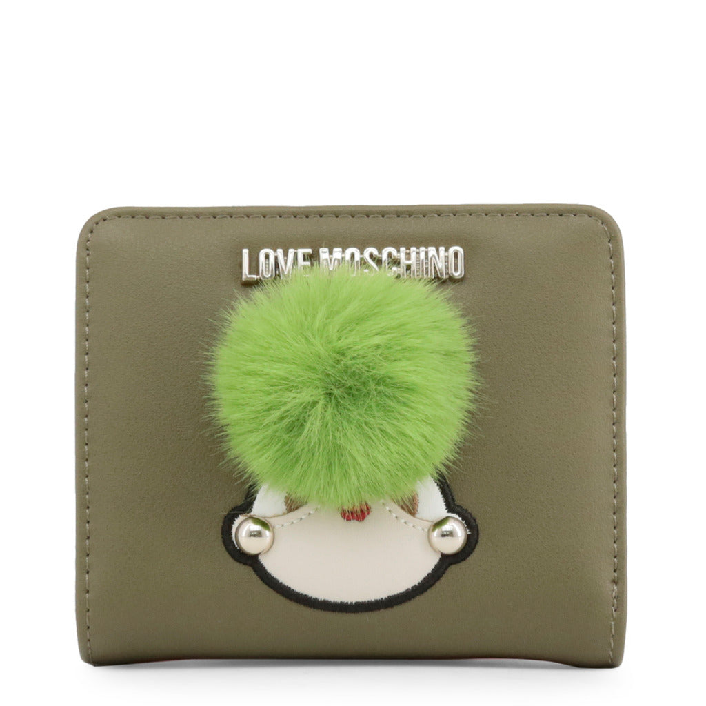 Love Moschino - Wallet - Green Khaki with Girly Pom Pom